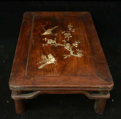 "19"" Chinese Huali Wood Inlay Shell Flower Bird Table Tea-Things Teapoy End table 5"