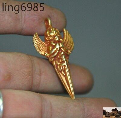Tibetan buddhism bronze 24K gold gilt Garuda Vajra Phurpa Dagger amulet Pendant 2