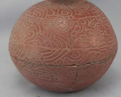 Antique Mayan Pre Columbian Pottery~Incised Red Vessel~Image of An Elephant! 6
