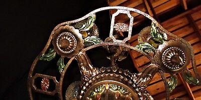 ANTIQUE GOTHIC REVIVAL ART CRAFT DECO CAST METAL CHANDELIER FIXTURE 20's 6