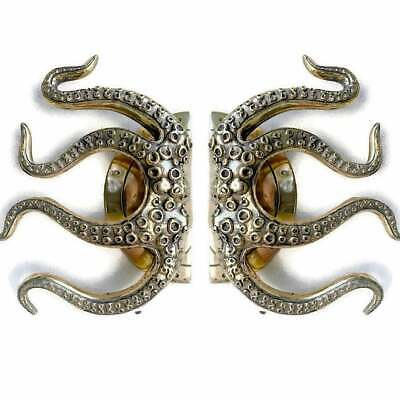 """pair OCTOPUS Solid 100% Brass hand POLISHED Door PULL HANDLE 9"""" high aged B 2"""
