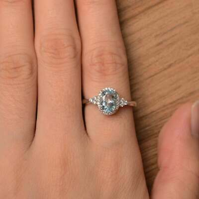 2.50Ct Oval Attractive Cut Aquamarine Halo Engagement Ring 14K White Gold Finish 4