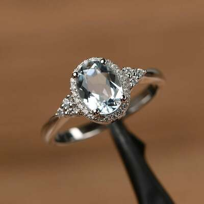2.50Ct Oval Attractive Cut Aquamarine Halo Engagement Ring 14K White Gold Finish 2
