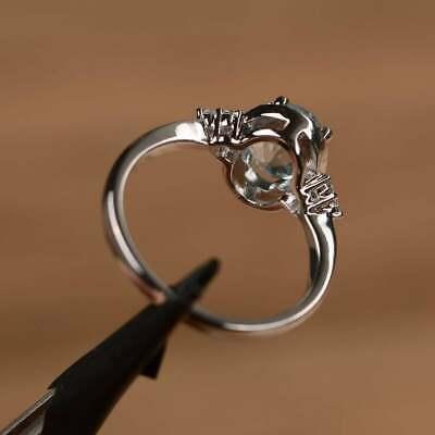 2.50Ct Oval Attractive Cut Aquamarine Halo Engagement Ring 14K White Gold Finish 3