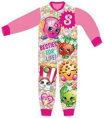 Shopkins Girls Character New Fleece All In One Sleepsuit Girls Pyjamas New 2
