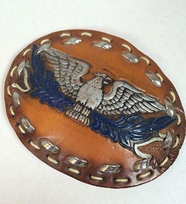 Vintage Flying Phoenix Soaring Eagle Hand Tooled Custom Leather Bird Belt Buckle 2