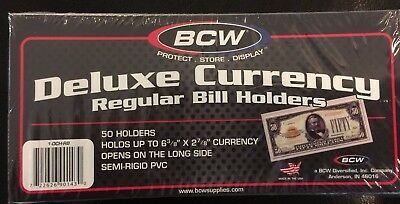 100 BCW Deluxe Semi Rigid Currency Sleeve Regular Bill Banknote Holder PVC Case 5