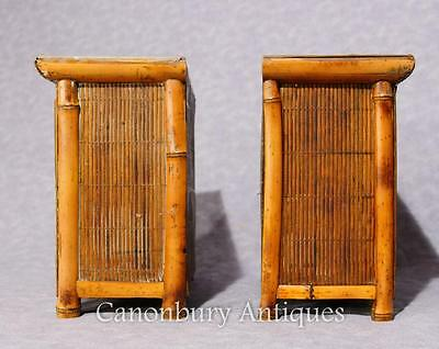 Pair Chinese Antique Bamboo Chest Drawers Mini Travelling Samples 1880 10
