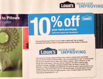 (20x) Lowes 10% Off Coupons for Home Depot only Expires OCTOBER 15 2019
