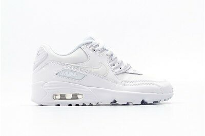 NIKE AIR MAX 90 Ltr 833412 100 Gs Youth All White Leather Premium Boys Retro 95