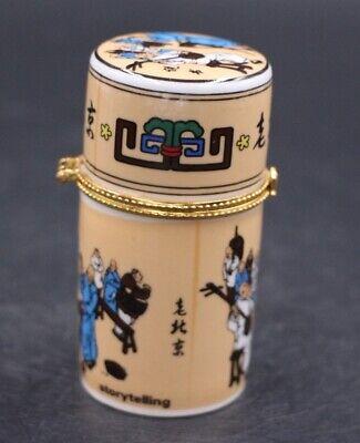 Decor Collect Handmade Porcelain Paint Peking Figure Noble Rare Toothpick Box 4