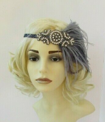 Charcoal Pewter Dark Grey Silver Feather 1920s Flapper Headband Gatsby Deco 7563 3