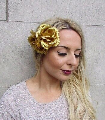 16b929a8fc ... Large Double Gold Rose Flower Hair Clip Rockabilly 1950s Fascinator  Grecian 2988 2