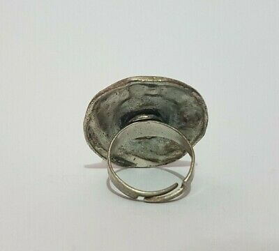 Extremely Rare Ancient Roman Old Ring Metal Color Silver Artifact Massive Stone 3