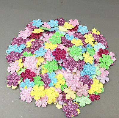 200PCS SEQUINS FLOWERS shape Felt Appliques Mixed Colors Cardmaking Crafts  20mm