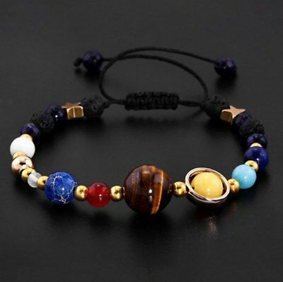 Universe Planets Bead Bangles Natural Solar System Energy Bracelet For Women Men 3