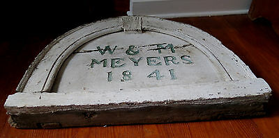 19th C WOODEN HOUSE DATE PLAQUE - W & M MEYERS 1841 7