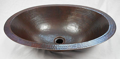 "19"" Oval Flat Edge Hand Hammered Copper Bathroom Sink in Dark Patina 2"