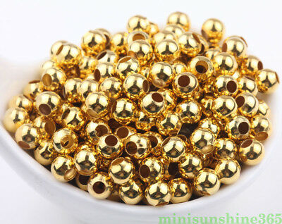 20/50PCS Gold Plated Beads Metal Round Loose Spacer Jewelry Making DIY Craft 3