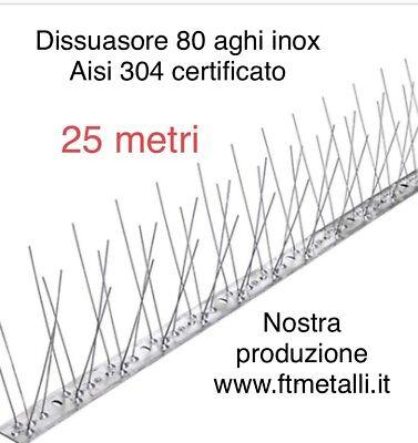 25 Mt Dissuasore Per Volatili Piccioni Flessibile 80 Spilli Inox Aste Da 1 Mt 5
