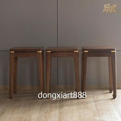Brass Black walnut solid wood furniture Wooden dining room square High stool 4