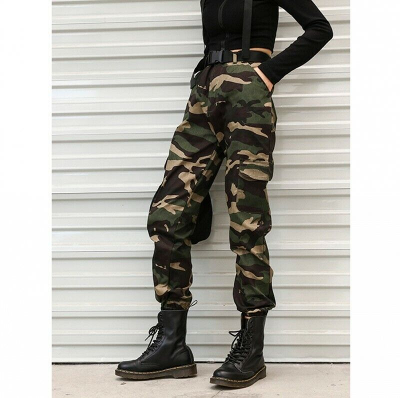 Womens Camouflage Hiphop Military Overall Pants Casual Outdoor Trousers Sbox4 12