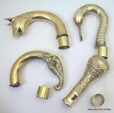 Lot of 4 Solid Brass Victorian Handle Wooden Walking Stick Cane Designer 4 pcs 3