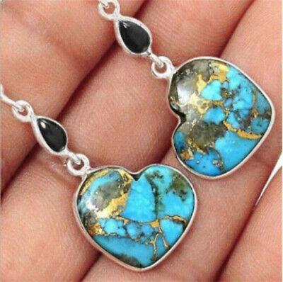 Silver Plated Vintage Turquoise Dangle Ear Hook Boho Hoop Women Jewelry Earrings 11