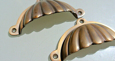 "2 heavy shell shape pulls handle antique solid brass vintage 4"" vintage style 2"