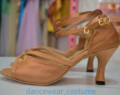 Women's Satin Ballroom Salsa Latin Tango Ceroc Dance Shoes Heeled Sandals All SZ 3