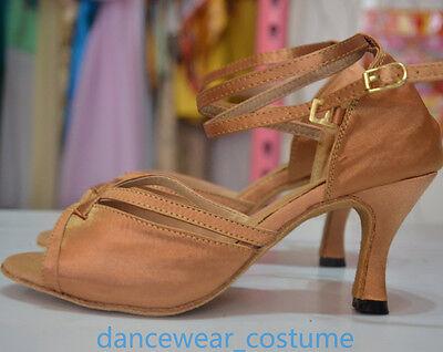 Women's Satin Ballroom Salsa Latin Tango Ceroc Dance Shoes Heeled Sandals All SZ 5
