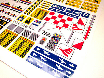 CUSTOM AIRPORT STICKERS LOT for MODELS, TOYS, Lego 3182 7734 , ETC 2