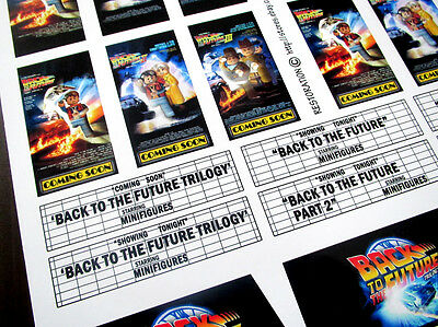 CUSTOM CINEMA STICKER SET for Lego 10232 10184 - BACK TO THE FUTURE TRILOGY 4