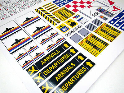 CUSTOM AIRPORT STICKERS LOT for MODELS, TOYS, Lego 3182 7734 , ETC 4