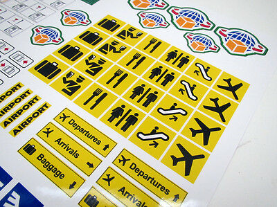 CUSTOM AIRPORT STICKERS LOT for MODELS, TOYS, Lego 3182 7734 , ETC 3