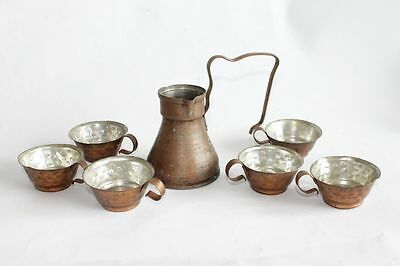 Antique Ottoman Copper Coffee Pot With Cups Set 19 Century 2