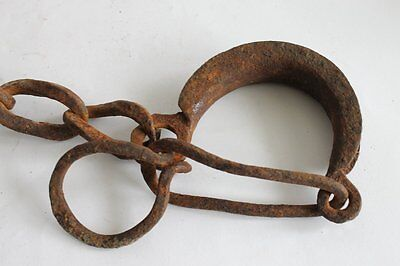 Antique Ottoman Prisoner Iron Shackles With Key 1800's RARE 7