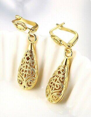 "1.6"" Drop Leverback Earrings 14k Yellow Gold Plated Crystal Cut ITALIAN MADE 4"