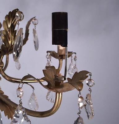*French Vintage Silver Painted Bronze & Crystal Chandelier/Hanging Lamp 7