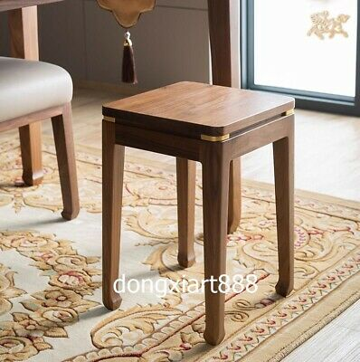 Brass Black walnut solid wood furniture Wooden dining room square High stool 2