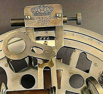 Vintage Maritime Brass Nautical Sextant Leather Case Kelvin Hughes London 1917 4
