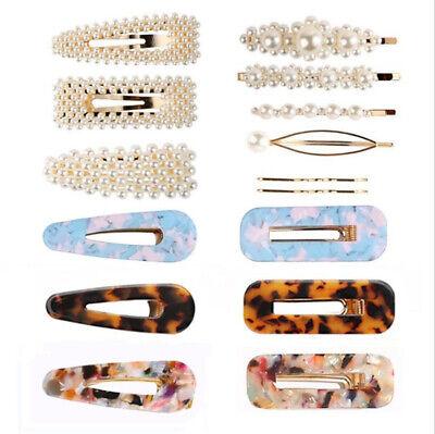 Pearl Acrylic Crystal Hair Clip Slide Hair Pin Barrette Bridal Hair Accessories 6
