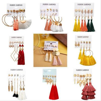 6Pairs Boho Tassel Crystal Pearl Earrings Set Women Ear Stud Dangle Jewelry Gift 5