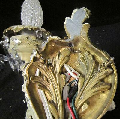 2 Antique French Cherub Spelter lamp Vintage Shabby sconce chic Paris Architectu 12