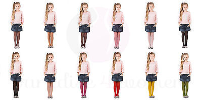 Girls Tights 15 Denier Lycra Soft Shine Bridesmaids ,12 Various Colours ,Age2-12 2