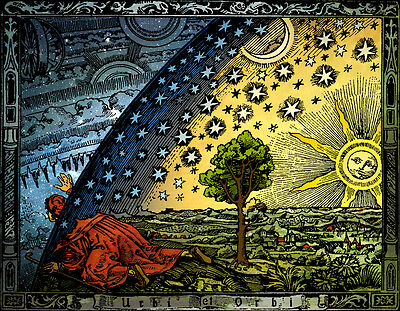FLAMMARION ENGRAVING 1888: Psychedelic Flat Earth Poster Print of Firmament Dome 9