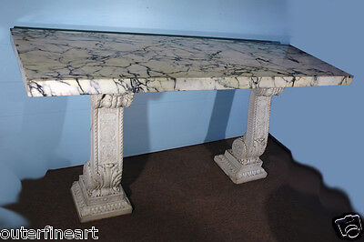 "19th Century ""Renaissance Style"" Carved Italian Carrara Marble Console"