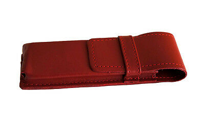 Etui für 3 Füller Kugelschreiber Bleistift, Schreibgeräte Rot Echt Leder (E3) 2