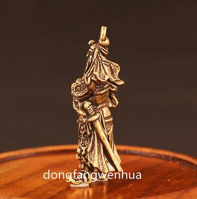 China Bronze Copper Fengshui  Guan Gong Yu Warrior God Immortal Pendant Amulet 5