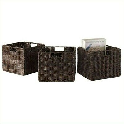 Pemberly Row Foldable 3 Piece Small Baskets in Chocolate 2